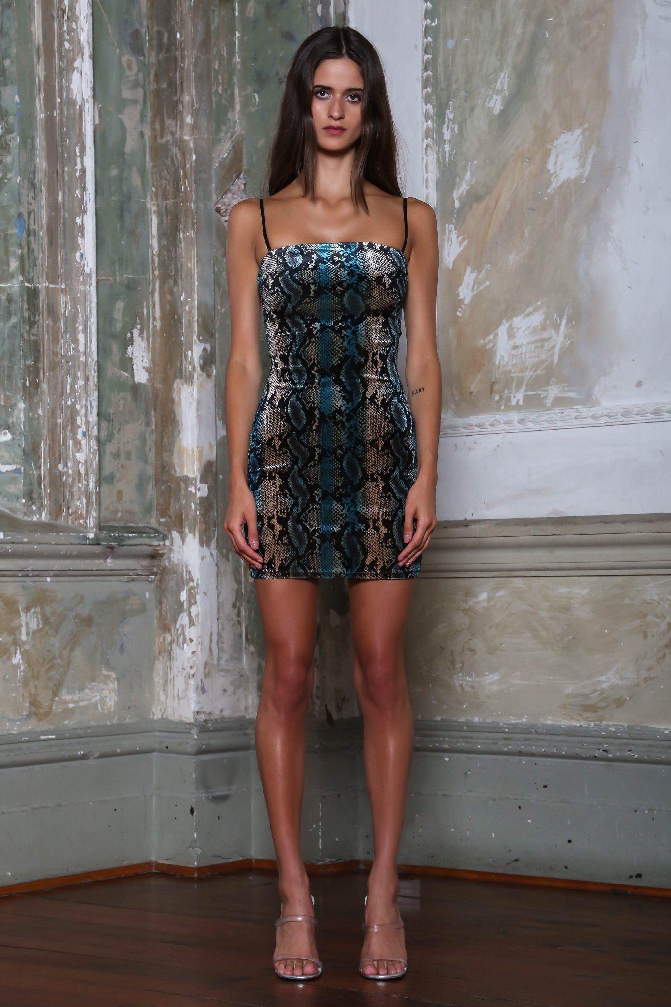 DEVON DRESS BLUE SNAKESKIN Dresses, Nice dresses, I.am.gia
