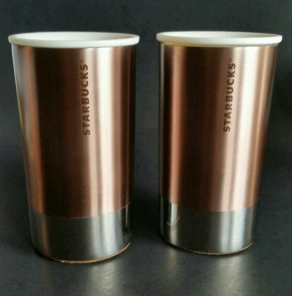 c7433e38e5b STARBUCKS LOT OF 2 METAL ROSE GOLD CORK BOTTOM TRAVEL COFFEE, TEA ...