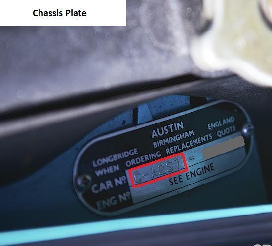 MK1 Austin Cooper S 1071cc VIN Plate
