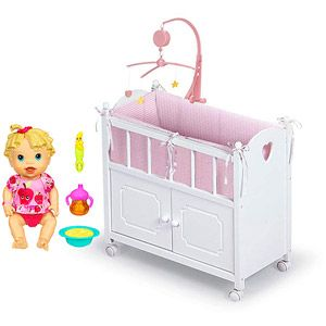 Baby Alive Baby All Gone Doll With Badger Basket Doll Crib with ...