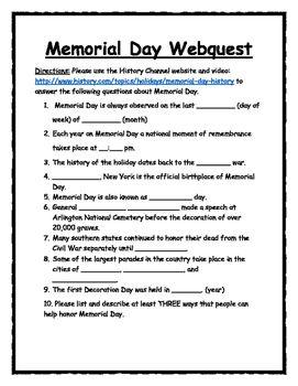 Memorial Day Webquest Webquest Memorial Day Memories