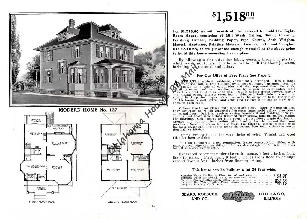 Sears 1912 Pg41 Sears 127 Four Square Homes Vintage House Plans