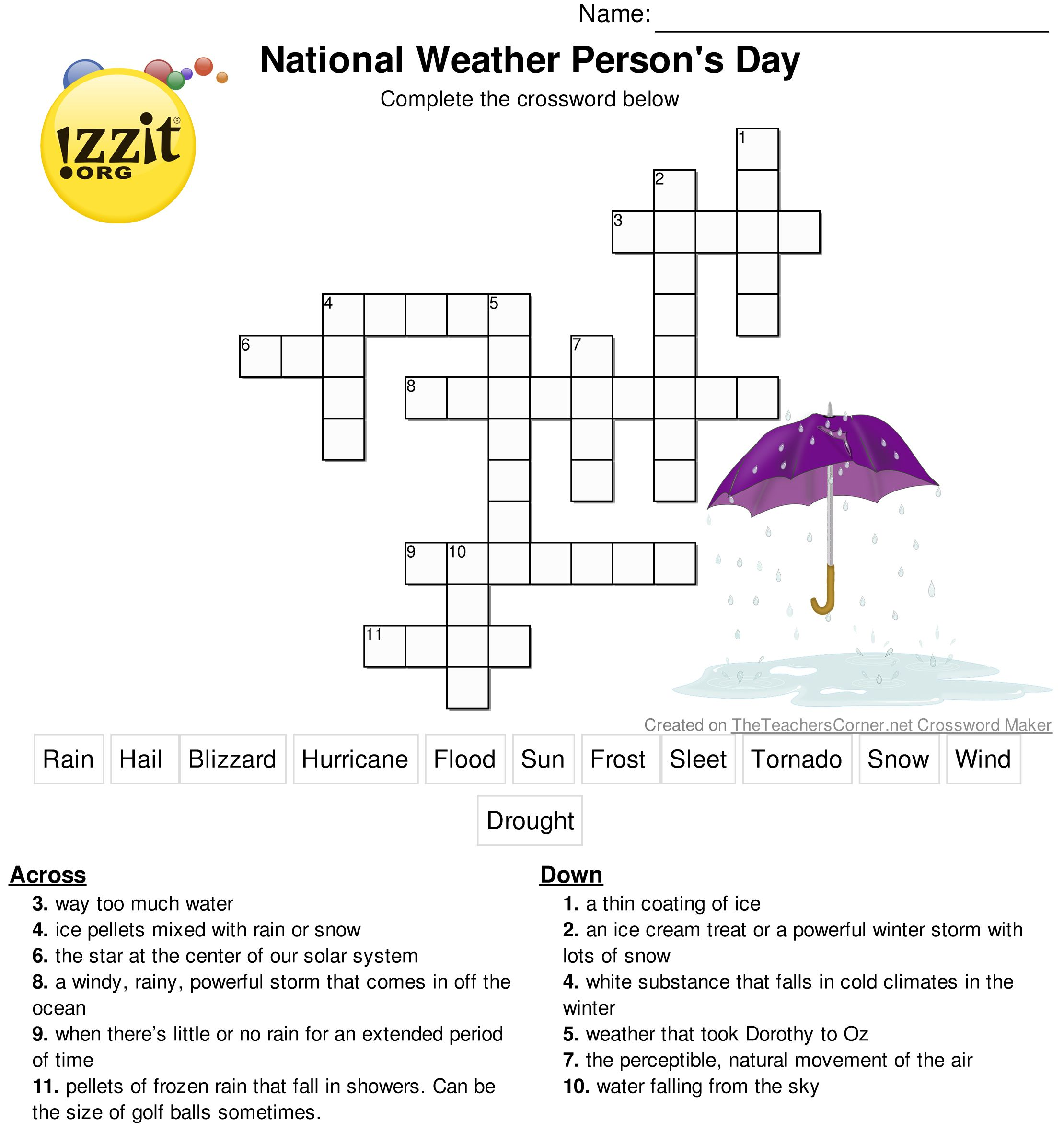 Happy National Weather Persons Day Enjoy This Printable Crossword Puzzle To Use In Your