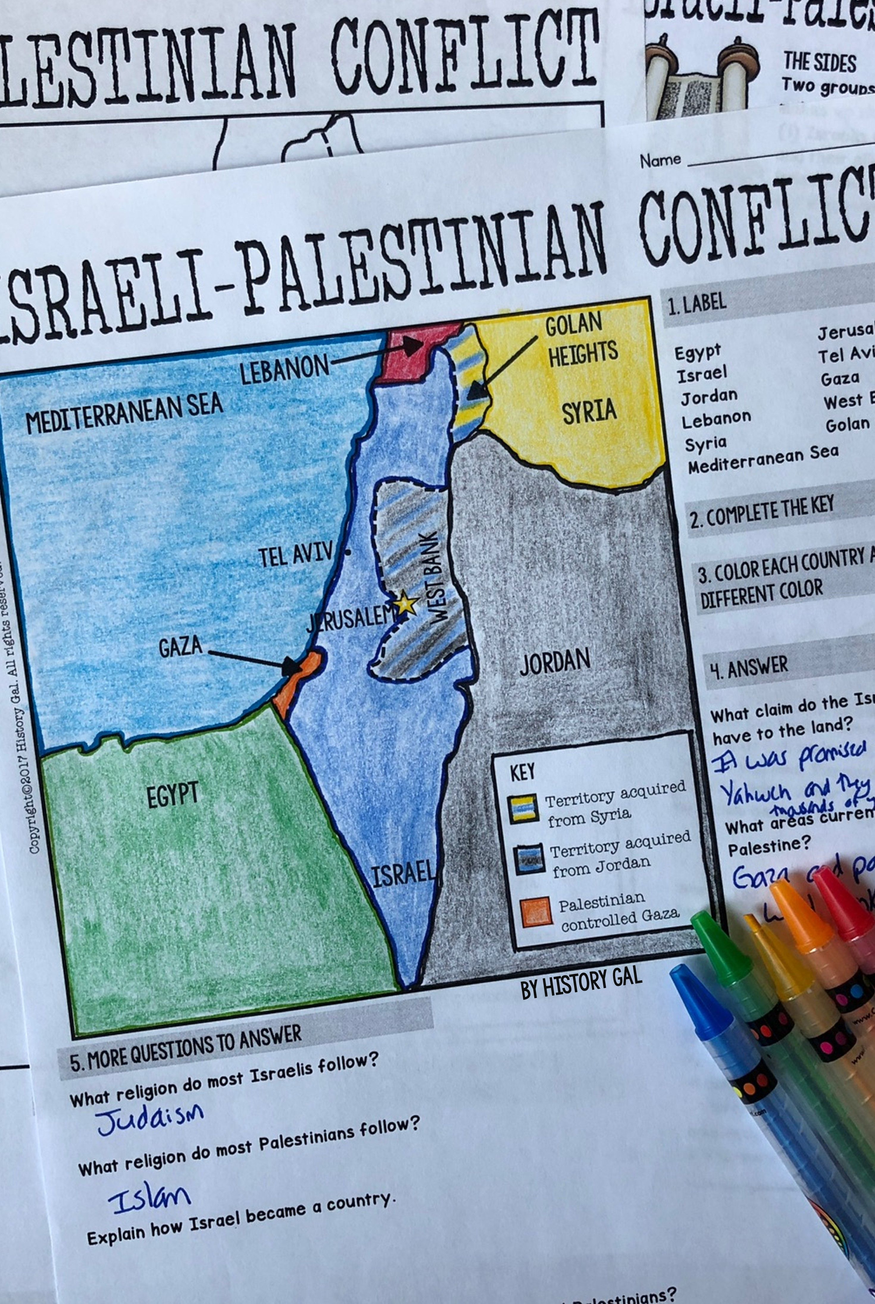 Israeli Palestinian Conflict Map Activity