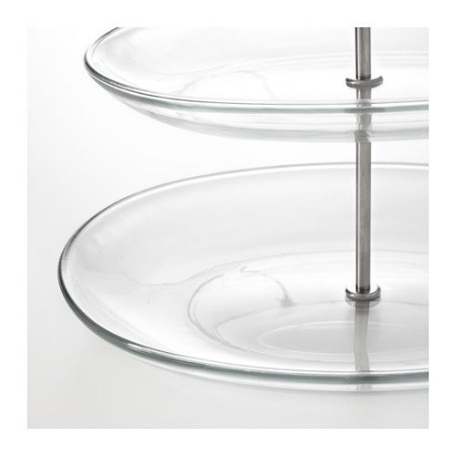 Kvittera Serving Stand 3 Tiers Clear Glass Stainless Steel Serving Stand Clear Glass
