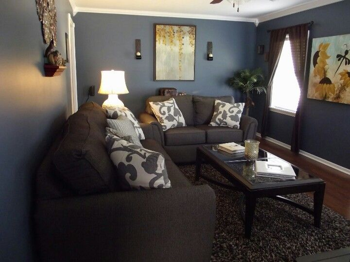 Our Living Room. Sherwin Williams Smokey Blue Shot At 150% And Pemberton  Furniture From