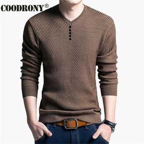 e55f72325322a Suéter de Color sólido Hombres Con Cuello En V Hombres Suéter de Manga  Larga camisa Para