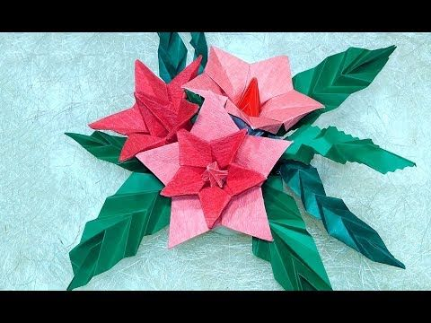 Photo of Origami Christmas table decorations. Easy Poinsettia Decor DIY .