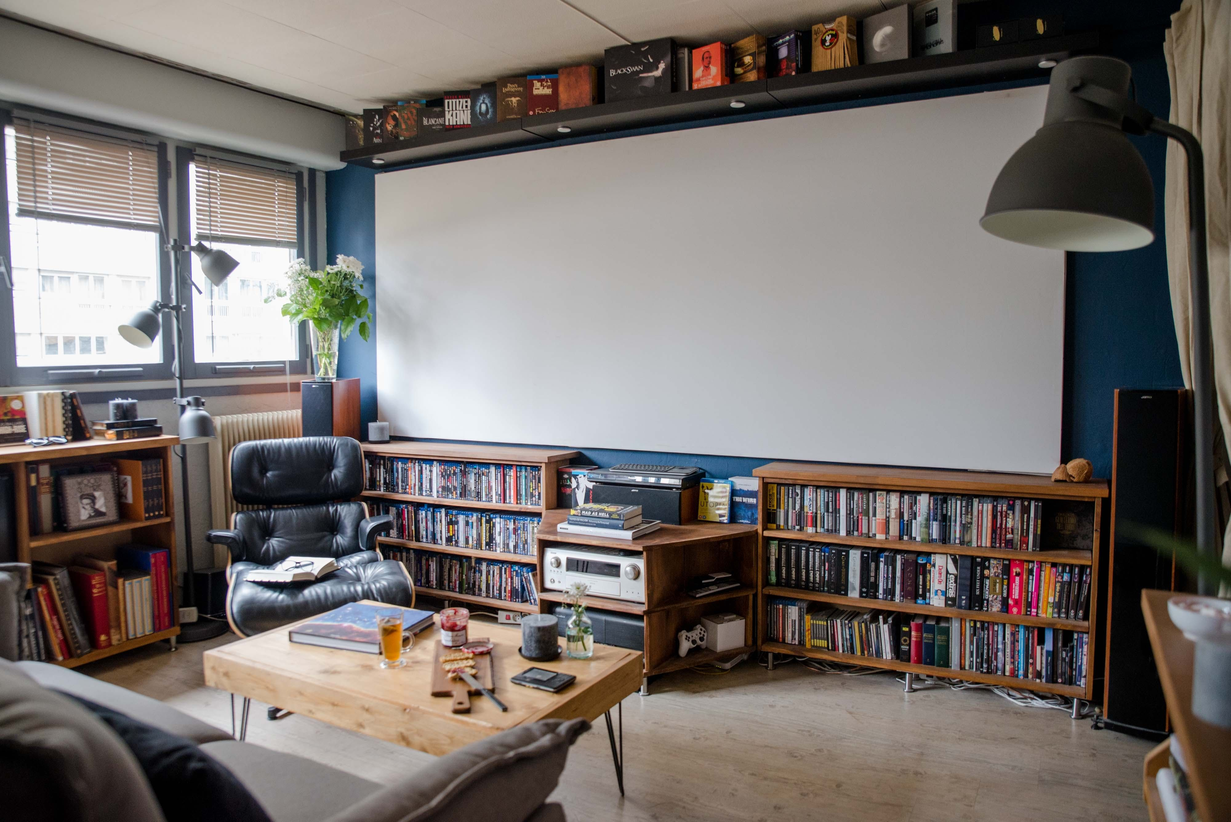 A Cinephile Upgrades His Small Parisian Rental Living Room Theaters Home Home Theater Decor #projection #screen #living #room