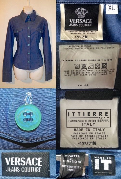 6402d599dfb9 2000 s (2003) GIANNI VERSACE JEANS COUTURE Made in Italy Blue Western  Cowboy Style Shirt Top Women Ladies