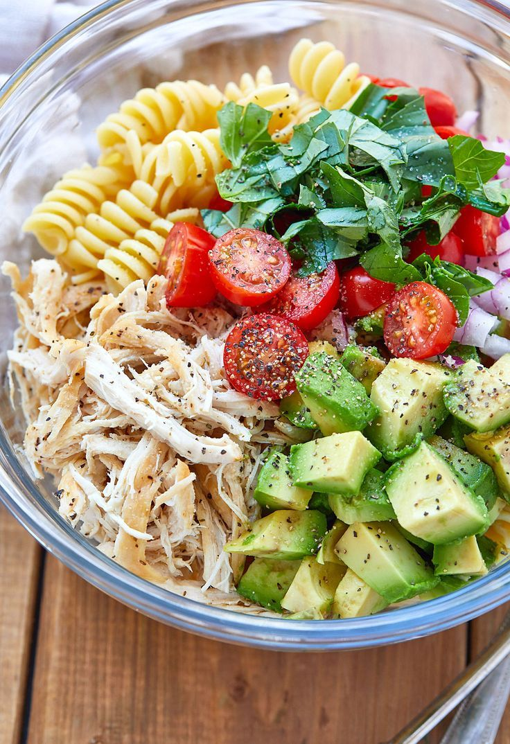 Healthy Chicken Pasta Salad with Avocado, Tomato, and Basil  #foodanddrink