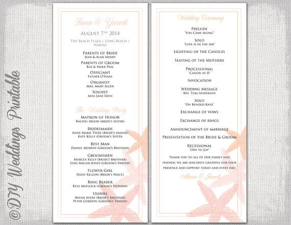 Beach Wedding program template Coral  - order templates free
