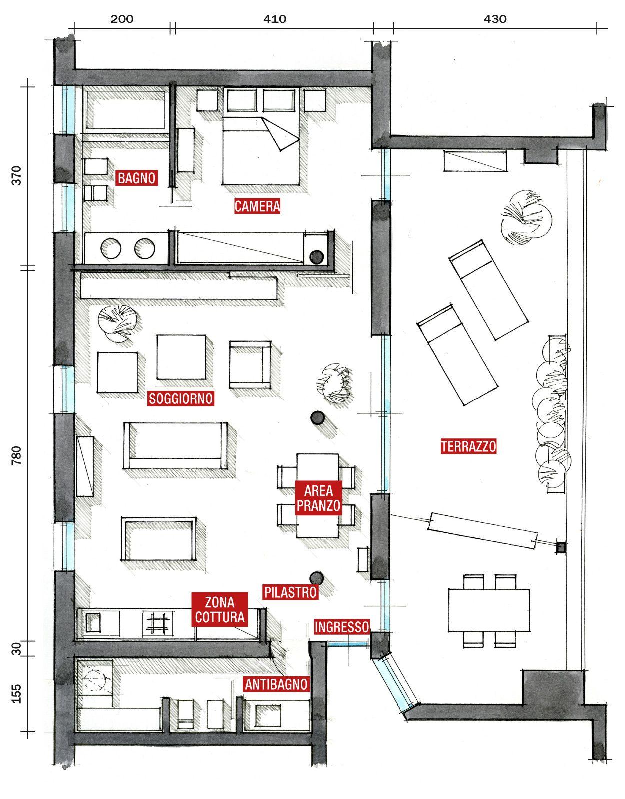 Planimetria Casa Con Misure 80 mq: una casa per due, perfetta per fare inviti | case
