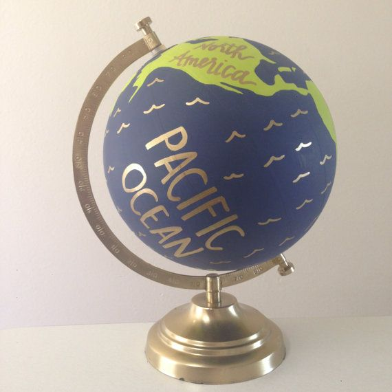 Hand painted globe continent globe painted continents by DovieLou