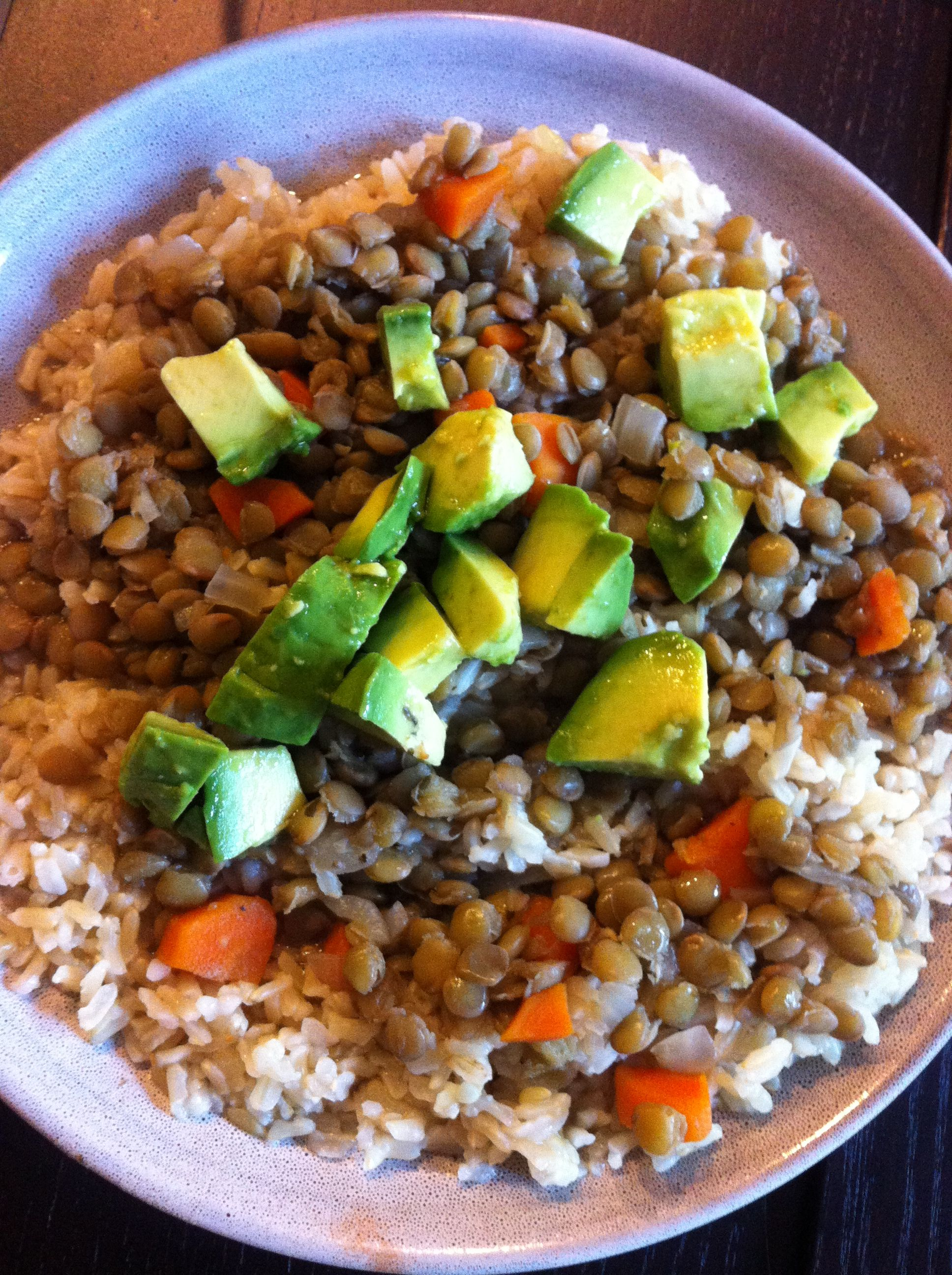 Lentils with brown rice and avocado (I add avocado pretty much to everything!).