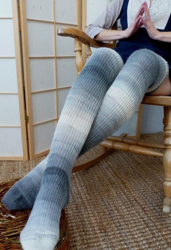 eb4e2ee1e0f Thigh high - KNITTED WOOL socks - Better than leg warmers - extra long -  Angora rabbit yarn- 29cm foot  80cm leg - EU 42 and up. £35.00