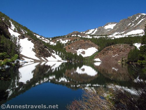 Reflections on Blue Lake along the Virginia Lakes Trail