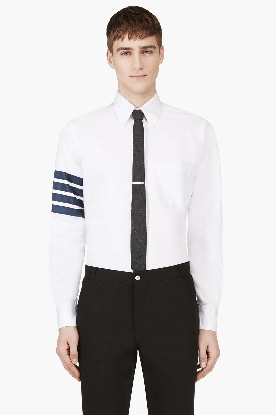 9cae4fd9861 Thom Browne White Grosgrain Trim Shirt for men