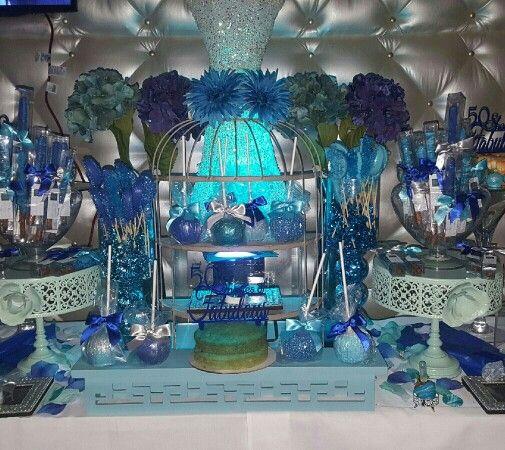 Blue Candy Buffet Sweet Treats Dessert Buffet 50th