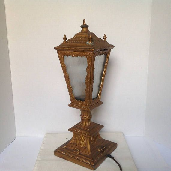 Antique Street Lamp Table Lamp Victorian Desk Light Gold Accent Lamp Steampunk Lighting 1920 S Street Light Vtg Desk Light Gothic Lighting Street Lamp Steampunk Lighting Steampunk Lamp