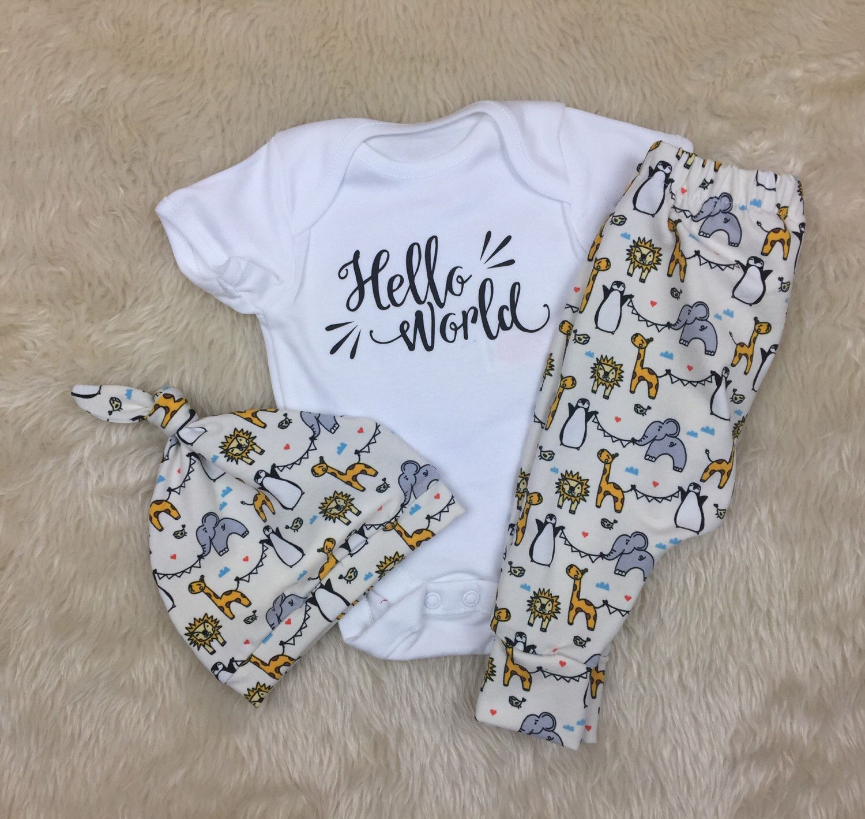 54d85312cbe1 Hello World Newborn Outfit