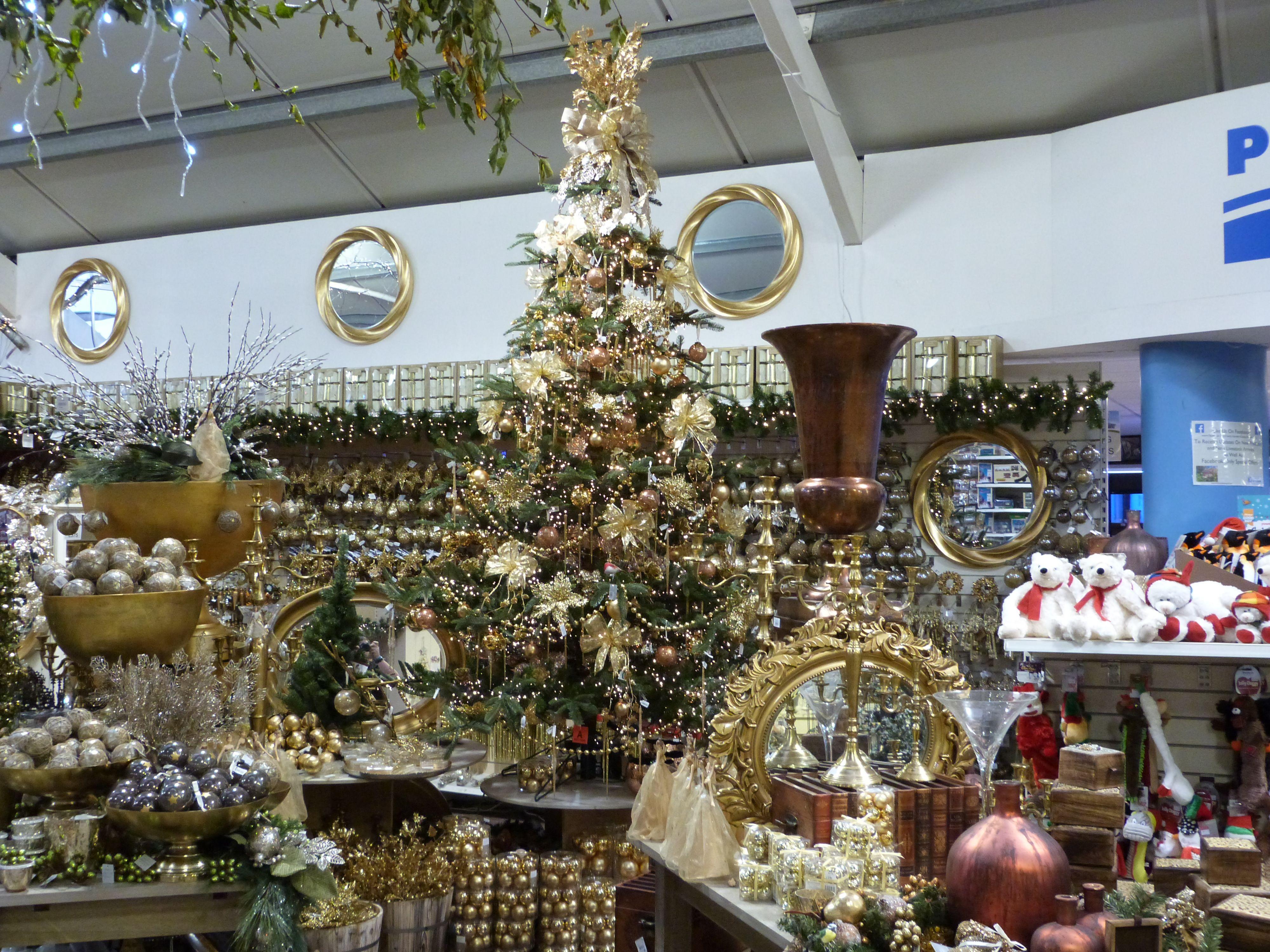 Gold Display At Derby Garden Centre Garden Center Holiday Decor Christmas Tree
