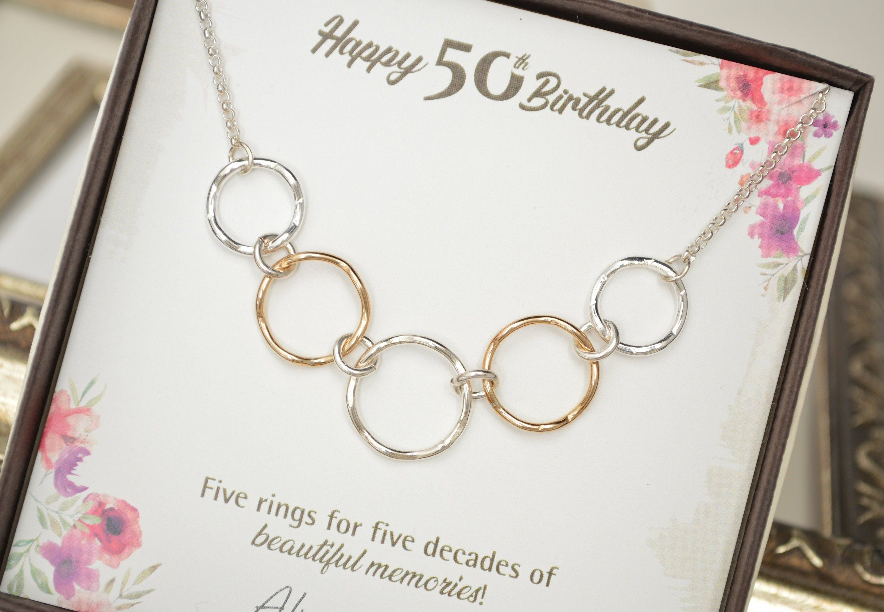 50th birthday gift for women mixed metal rings 50th