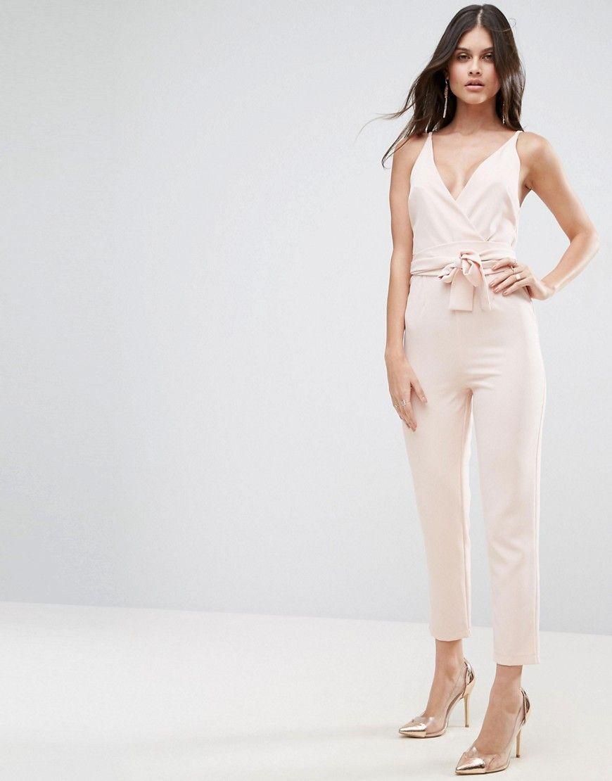 Cheap Sale Fashion Style Online Cheap Quality ASOS DESIGN Petite Wrap Front Jumpsuit with Peg Leg and Self Belt - Black Asos Petite Buy Cheap Browse j6LXh3VPN