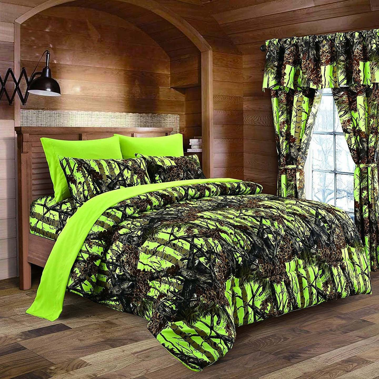 7 PC FULL SIZE WOODS NATURAL CAMO COMFORTER AND ORANGE SHEET SET CAMOUFLAGE