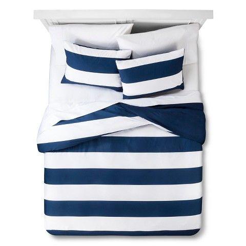 Room Essentials Textured Rugby Stripe Duvet Cover Set Striped Duvet Covers Duvet Cover Sets Striped Duvet