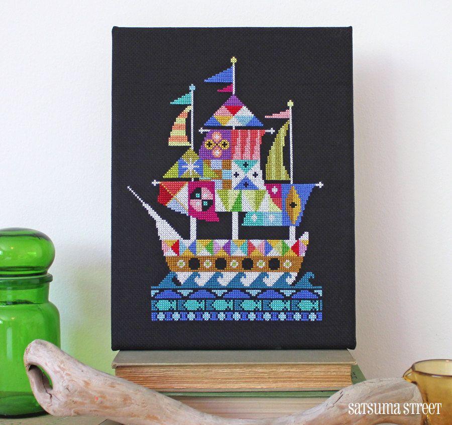 Voyage - Modern Pirate Ship cross stitch pattern PDF - Instant download by SatsumaStreet on Etsy https://www.etsy.com/listing/151396298/voyage-modern-pirate-ship-cross-stitch