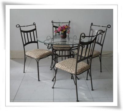 Wrought Iron Dining Chairs Log Baby High Chair Furniture On Table 987 China