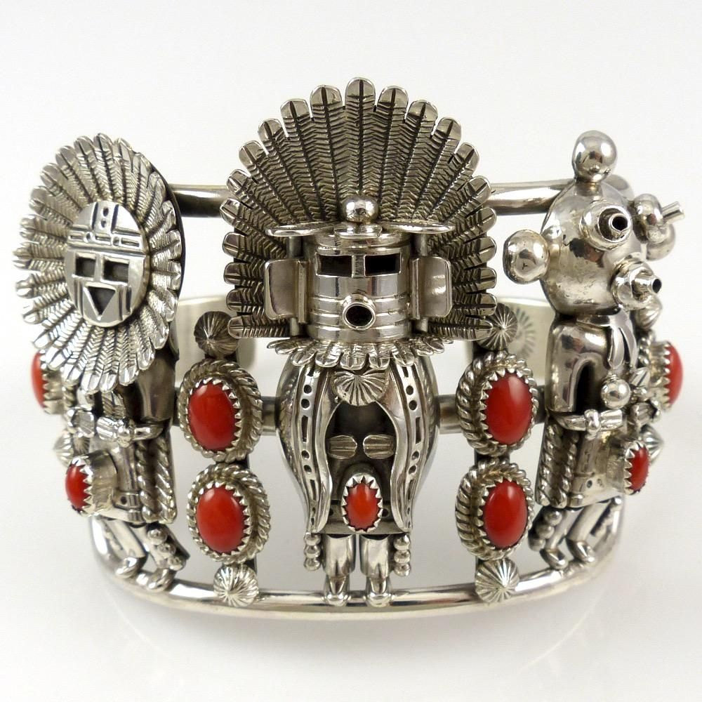 Mediterranean Coral Kachina Cuff by Toby Henderson - Navajo