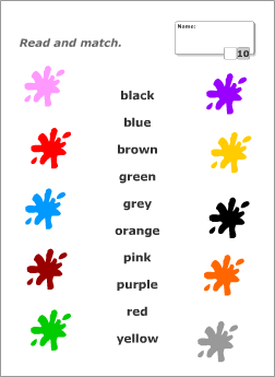 Colours Tests Read And Match
