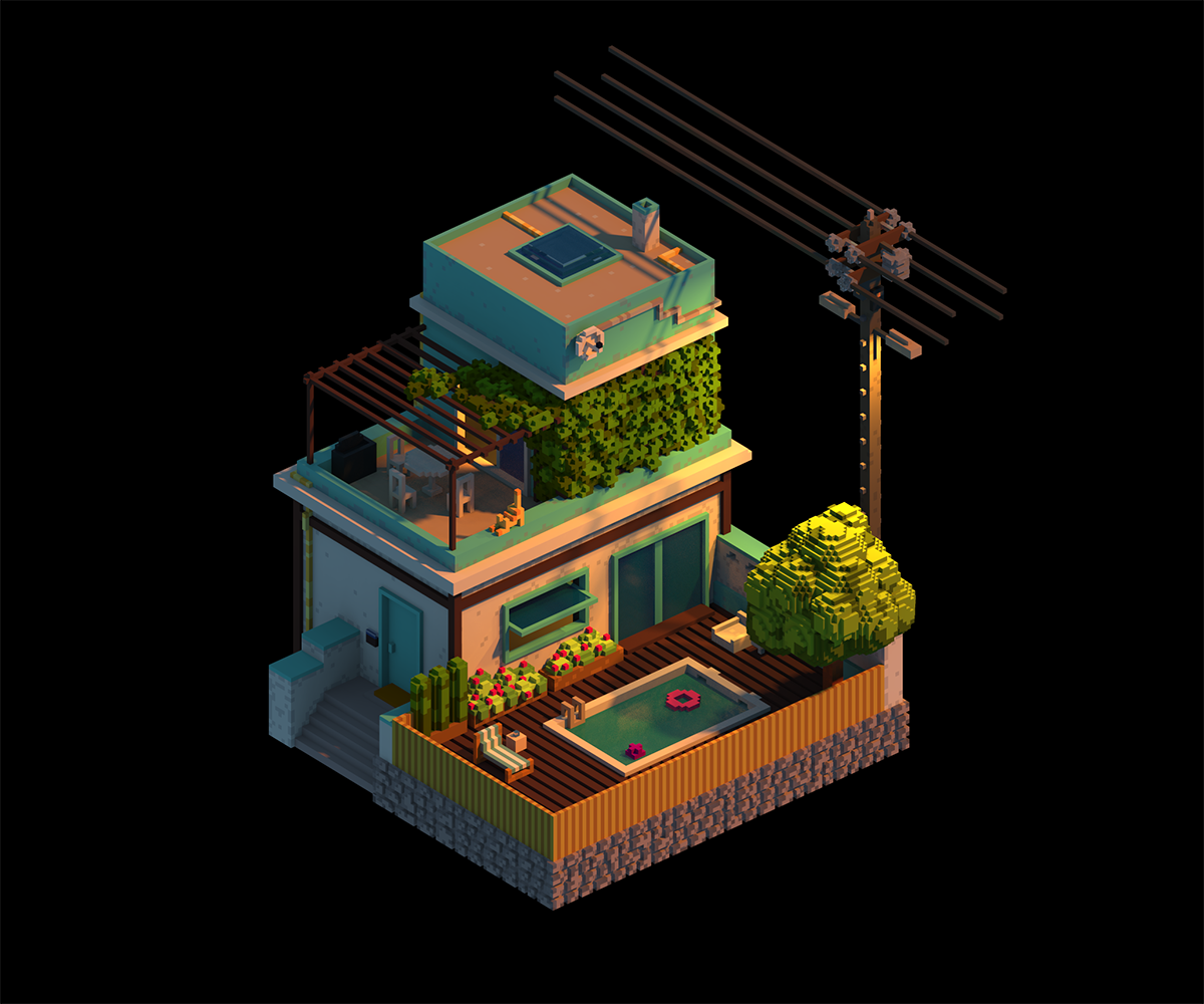 Sunset 03: Made with MagicaVoxel  | building in 2019 | Isometric art