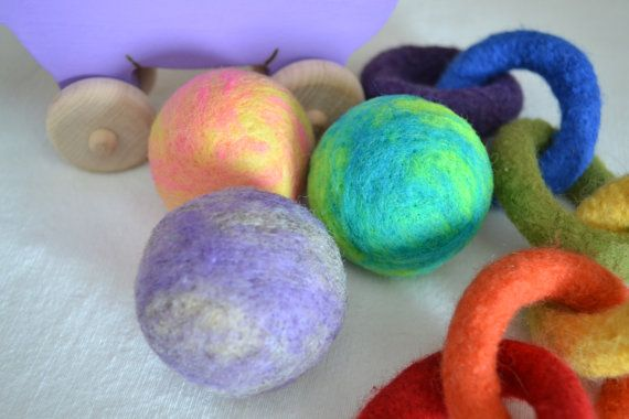 Felted Wool Ball Toys set of 3 Waldorf Inspired by WoolyTopic, $15.00