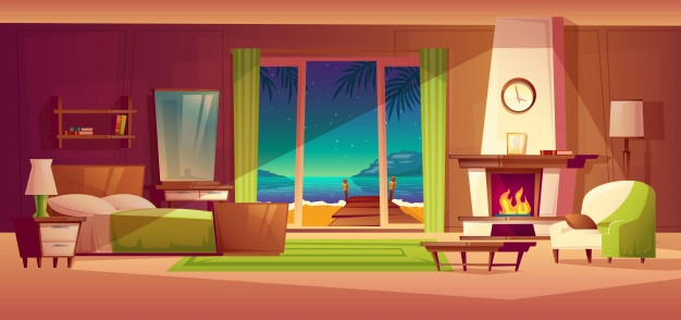 Download Night Panorama Of Villa Interior, Window With Seaside. Light From Fireplace for free