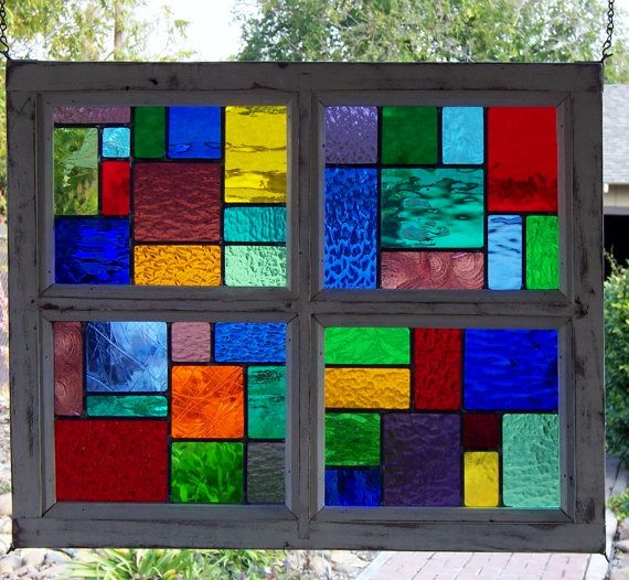 Multi Color Wood Framed Stained Glass Window