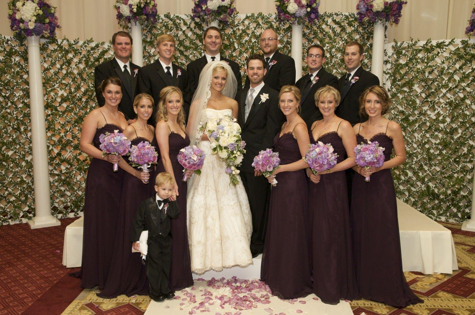 Wedding dress with eggplant bridesmaids dresses | Wedding Ideas ...