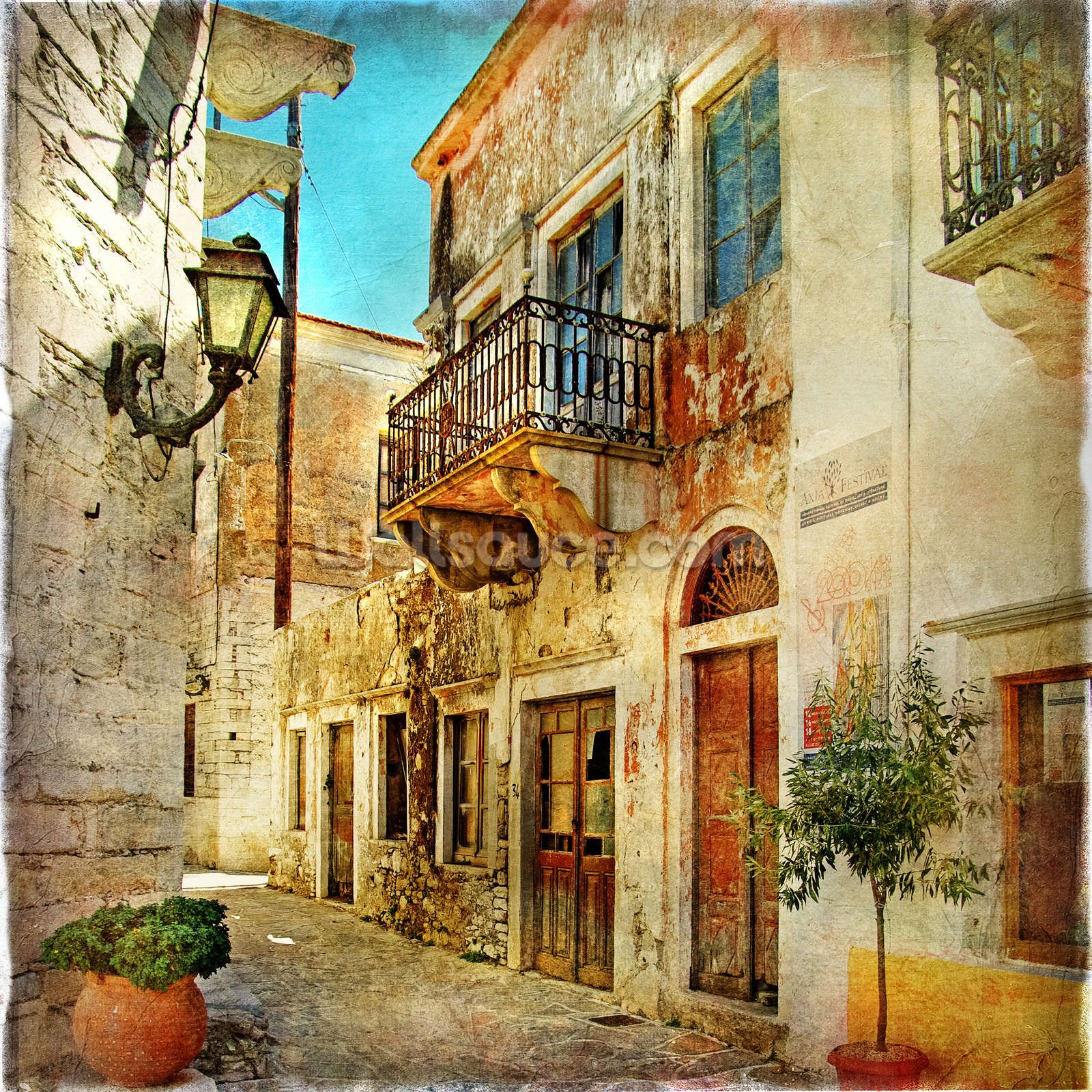 Old Town Greece Wall Mural | Wall murals, Wallpaper and Walls