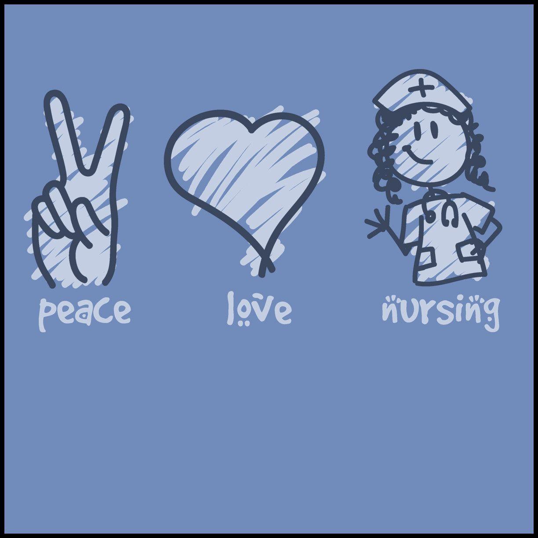 29a8b79012ebd ADULT NURSE T-SHIRT - PEACE • LOVE • NURSES! • Cute Nurse Tee! -ASST-4432
