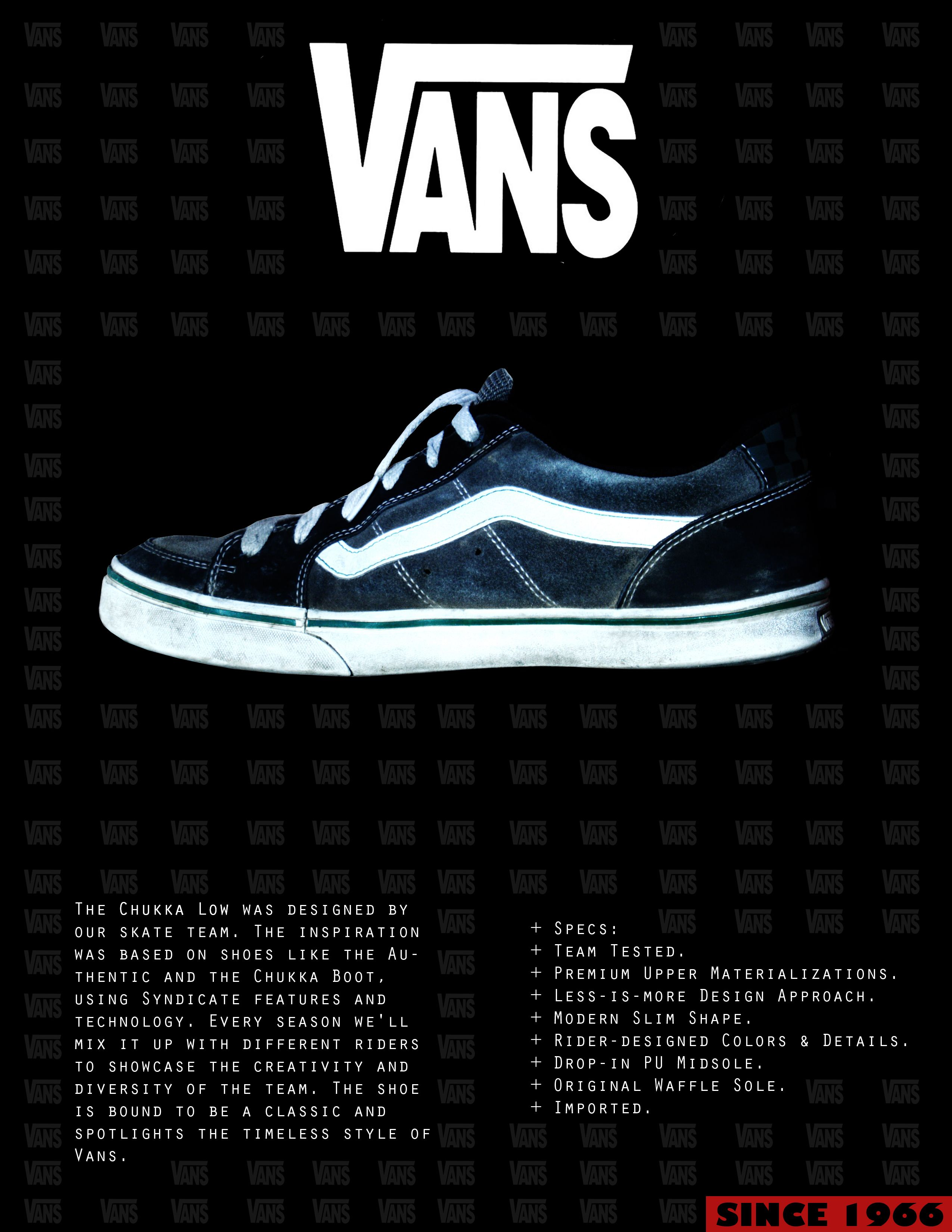 This ad was created by Vans. This ad has a show in the middle and ... f1870db24985