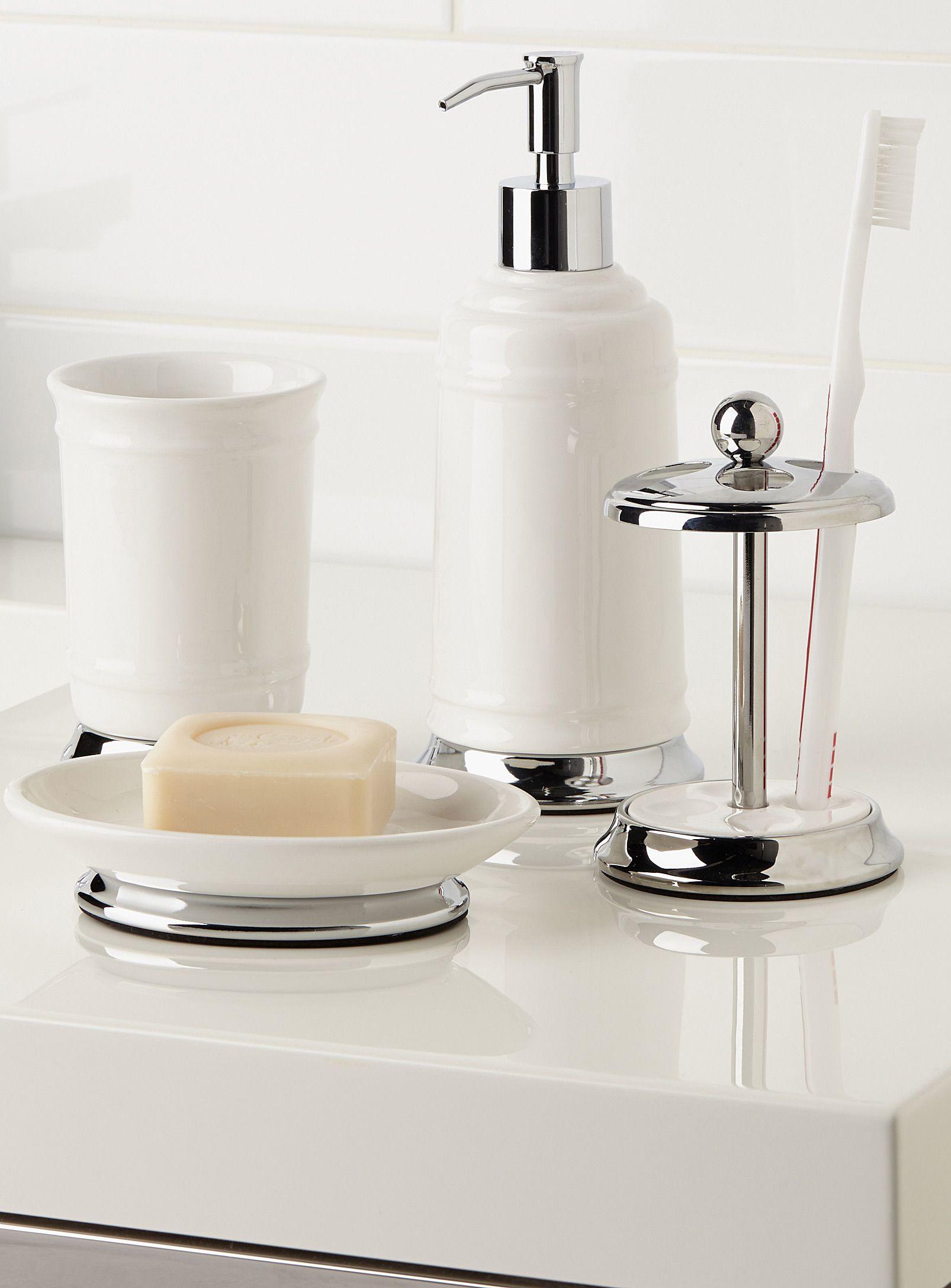 Shop Bathroom Accessories Accessory Sets Toothbrush Holder 7 Ceramic Accessory Dish Soap Soap Dispenser