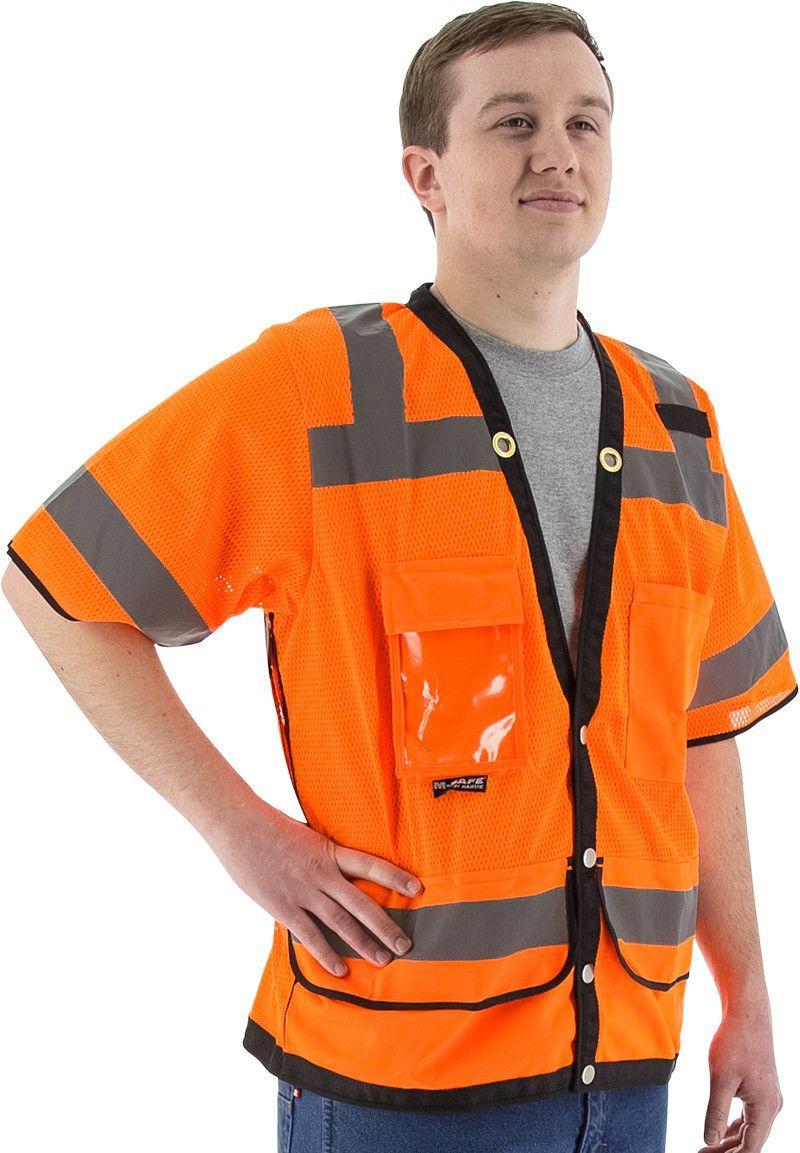Majestic 75-3308 Hi Vis Orange Heavy Duty Safety Vest ANSI Class 3 Snap Front