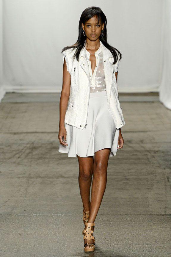 Marihenny: Frayed linen tweed moto vest; Cream embroidered chiffon shirt; Pale lavender circular knit skirt