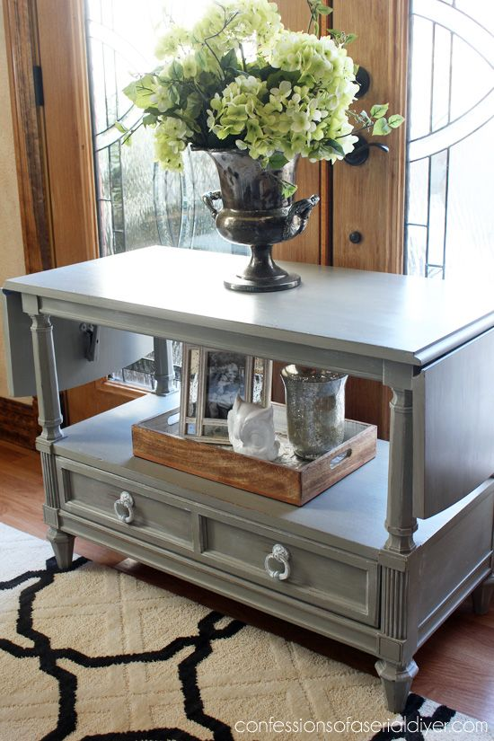 Server/TV Stand In  French Linen U0026 Dry Brushed In White Pulls Spray Painted  In Rustoleum Blossom