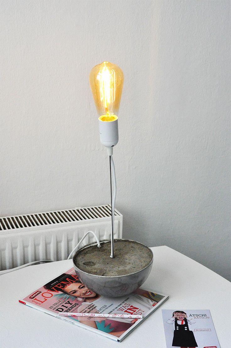 Diy Burolampe Fur Schreibtisch Lampe Aus Beton Mit Betonsockel