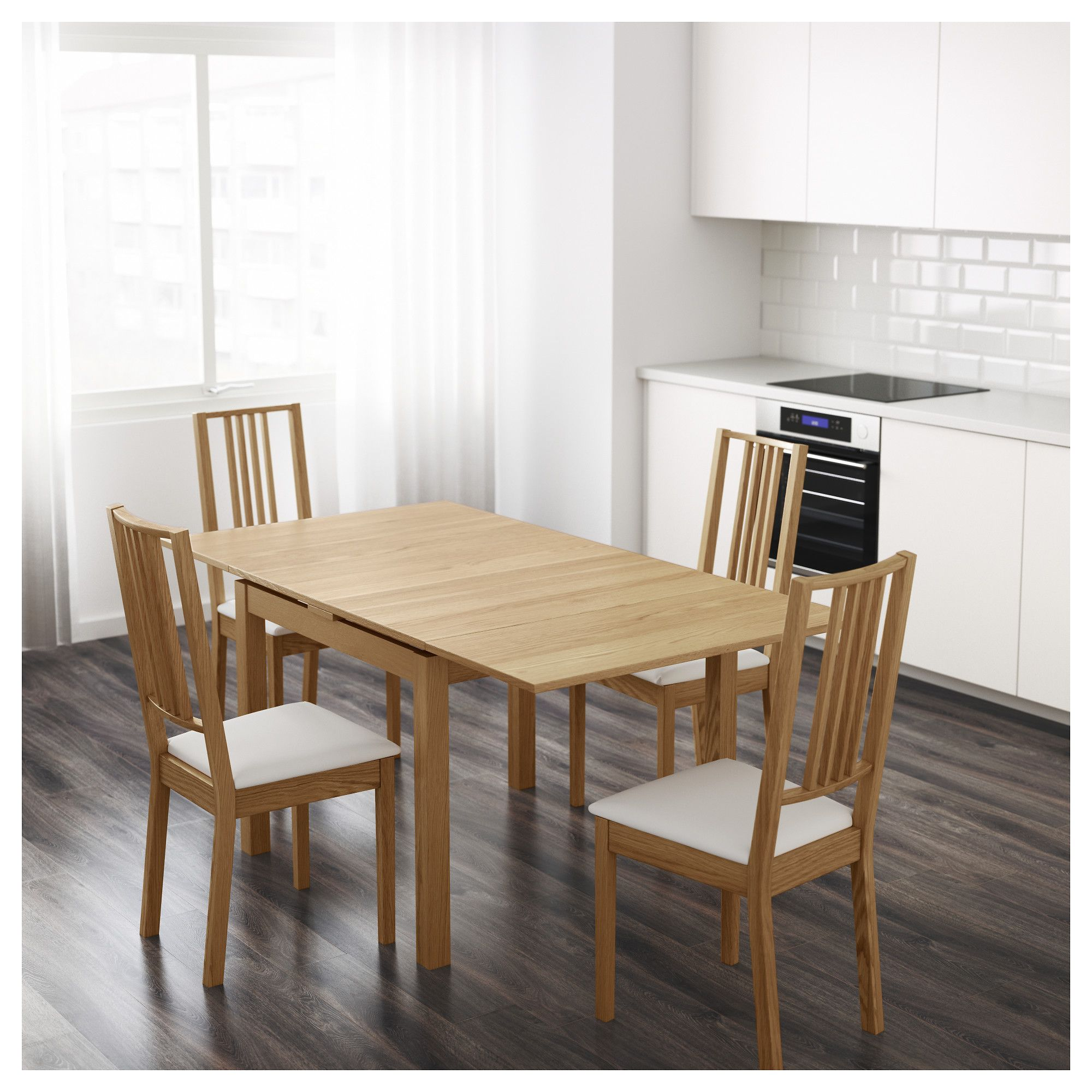 Bjursta Extendable Table Oak Veneer 90 129 168x90 Cm Dining Room Tables Ikea Dining Table Compact Table And Chairs