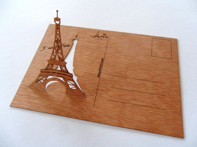 3 Real Wooden Postcards Eiffel Tower  Popup by microwoodproducts, €8.75