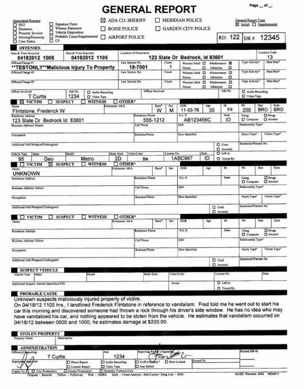 Police Report Example  template  Report template Resume template free Police report
